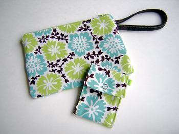 Chocolate Lime wristlet and mini wallet